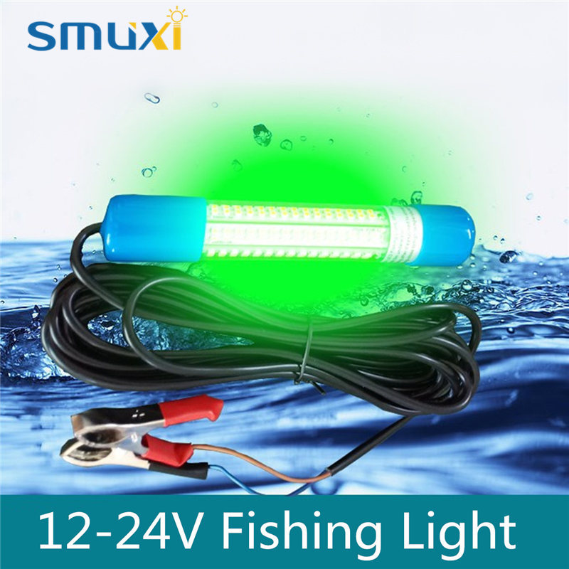 Smuxi 8W Green LED Submersible Fishing Fish Attracting Light Bulb Tube Boat Night Light Squid Lamp Underwater Lighting DC12V~24V 12v led green lure bait finder night fishing boat submersible deep drop underwater lights for crappie bass striper catfish