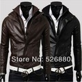 2015 Autumn Winter New Double Zipper Placket     Leather Coat Collar Men Fashion casual Slim Fit Motorcycle leather jacket