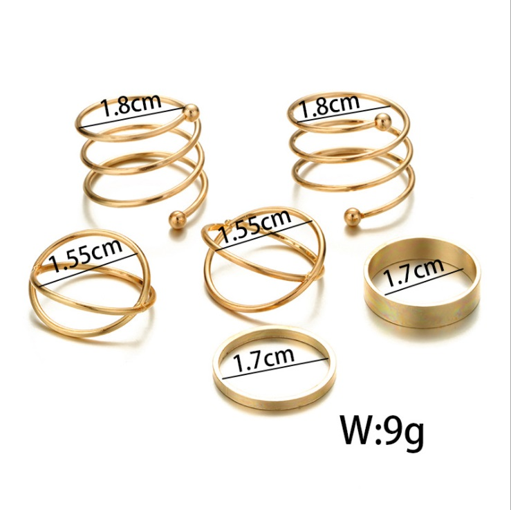 2019 Hot unique set of rings punk fist gold rings for women ring finger 6 pcs. ring set best selling 1