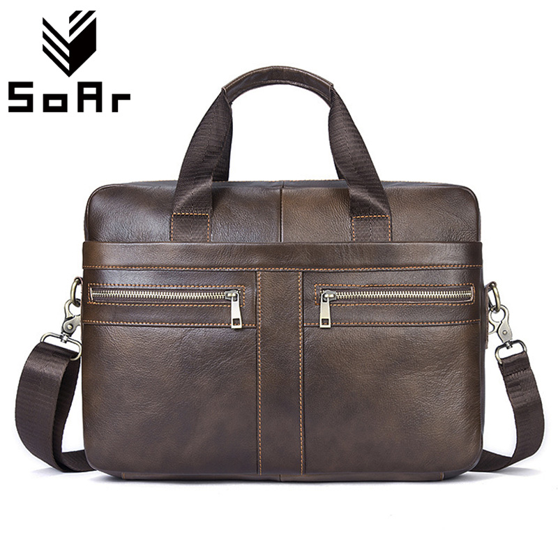 SoAr Business Briefcase Famous Brand Vintage Genuine Leather Men Bag Men Messenger Bags Handbag Male Shoulder Bags Free Shipping padieoe famous brand handbag men shoulder bags leather messenger bag business briefcase laptop bag men s tote bag free shipping