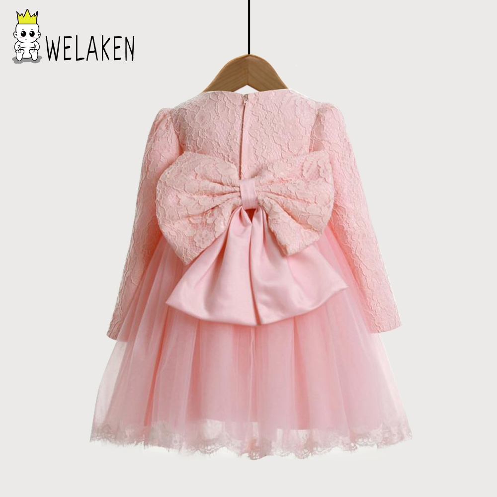 Welaken 1 10y girl dresses pink long sleeve lace big bow for Long sleeve dresses for wedding party