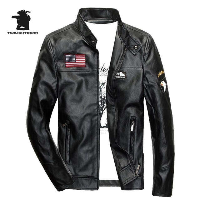 New Brand Men's Black Leather Jacket Fashion Stand Collar PU Leather Motorcycle Jackets Plus Size Aviator Jacket Men M~4XL D1F51