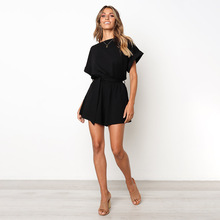Summer Playsuit Women Fashion Belted Elegant Beach Romper Casual Short Sleeve Jumpsuit belted detail cami romper