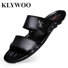 KLYWOO Summer Fashion Shoes Men Sandals Slides Beach Flip Flops Luxury Brand Mens Sandals Casual Shoes For Men Slippers Black