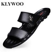 KLYWOO الصيف أحذية أنيقة الرجال الصنادل الشرائح شاطئ الوجه يتخبط الفاخرة ماركة الرجال الصنادل حذاء كاجوال ل شبشب رجالي أسود