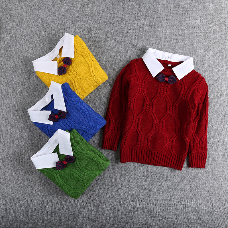 Autumn Winter Knitting Baby Infants Knitwear Long Sleeve Gentleman Knit Boys Bow Sweater Outwear Pullover Camisola Sweater S5475