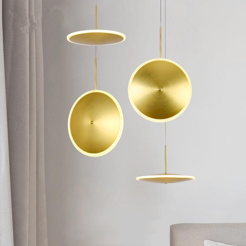 IKVVT 2018 New Design Art Pendant Lights Modern Simple Golden Iron Hanging Lamp Nordic Creative Restaurant Livingroom Droplight