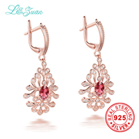 L&zuan 2017 Sale Rushed Plant Women 925 Sterling 1.09ct Natural Tourmaline Rose Stone Elegant Clip Earrings