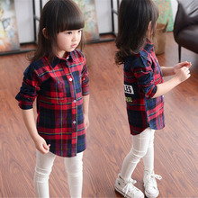 2014 Autumn New Style Plaid Broadcloth Shirts for Girls Casual Long Sleeve Baby Girls Shirts & Blouse for Girls Children ss014