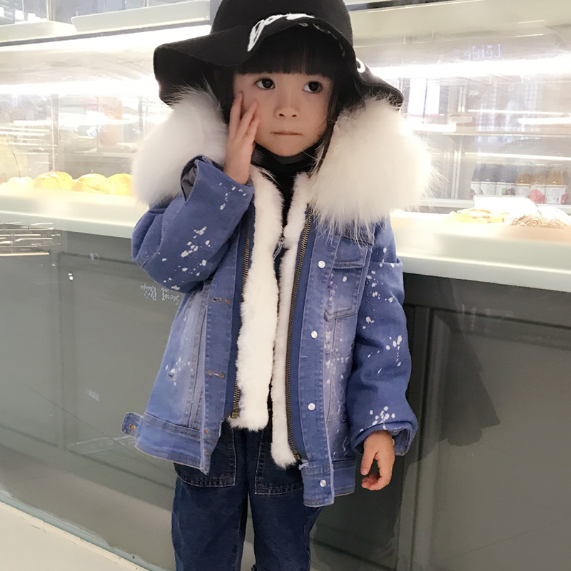 Fashion Girls Fur Coats 2018 Winter Children Outwear Rex Rabbit Hair Liner Girls Denim Jackets Thicken Warm Big Collar Kid Coat winter kids rex rabbit fur coats children warm girls rabbit fur jackets fashion thick outerwear clothes
