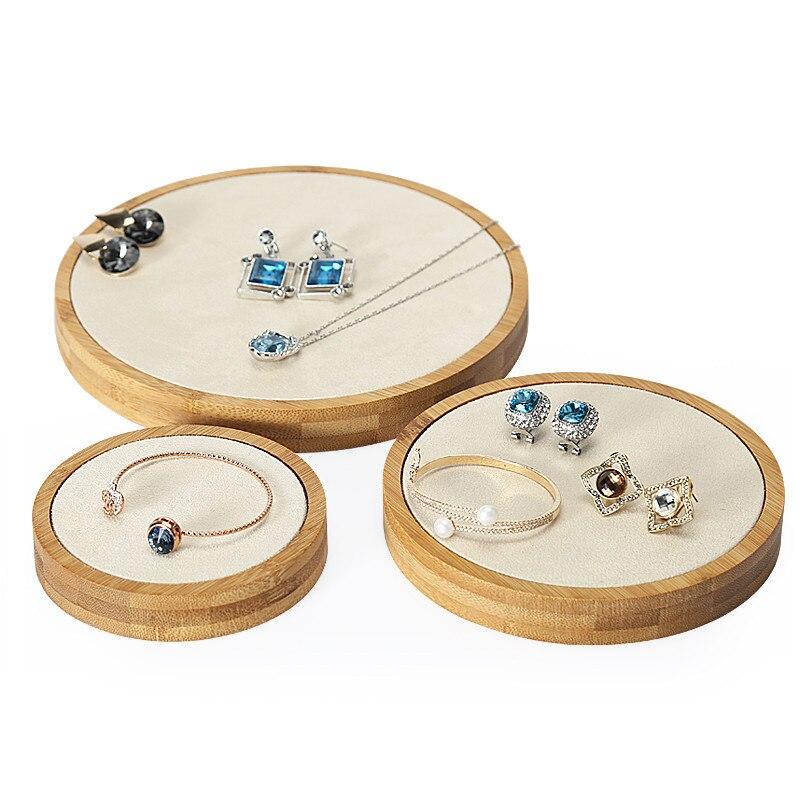 3 pièces bambou bois bijoux affichage blocs en cuir boucles d'oreilles collier pendentif présentoir bijoux présentoir