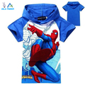 AiLe Rabbit new arrive high quality 2016 boys t-shirt kids baby tops spiderman summer cartoon children clothing