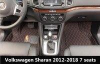 Car Custom Foot Mats 3D Luxury Leather Car Floor Mats For Vw Volkswagen Sharan 7 Seats 2013 2014 2015 2016 2017 2018
