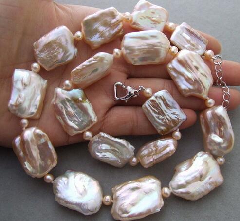 Nouveau collier de perles Keshi rose naturel 18x25mm>>> femmes bijoux livraison gratuite