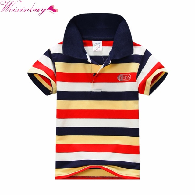 Children's Summer Boys Multi Color Short Sleeve Striped Cotton Tops Boy Clothes T Shirt Camisa
