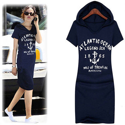 New Fashion Womens Letter Print Cotton Slim Fit Casual Hoodie Dress