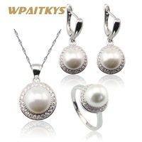 White Simulated Pearl White CZ Silver Color Jewelry Sets For Women Necklace Pendant Drop Earrings Rings
