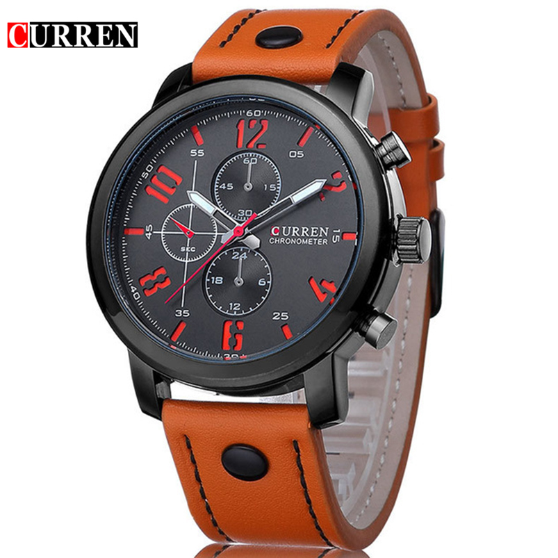 все цены на Fashion Brand Watch Men Casual Leather strap Business Wristwatch Military Sport Relogio Male montre homme Dropship Curren 8192 онлайн