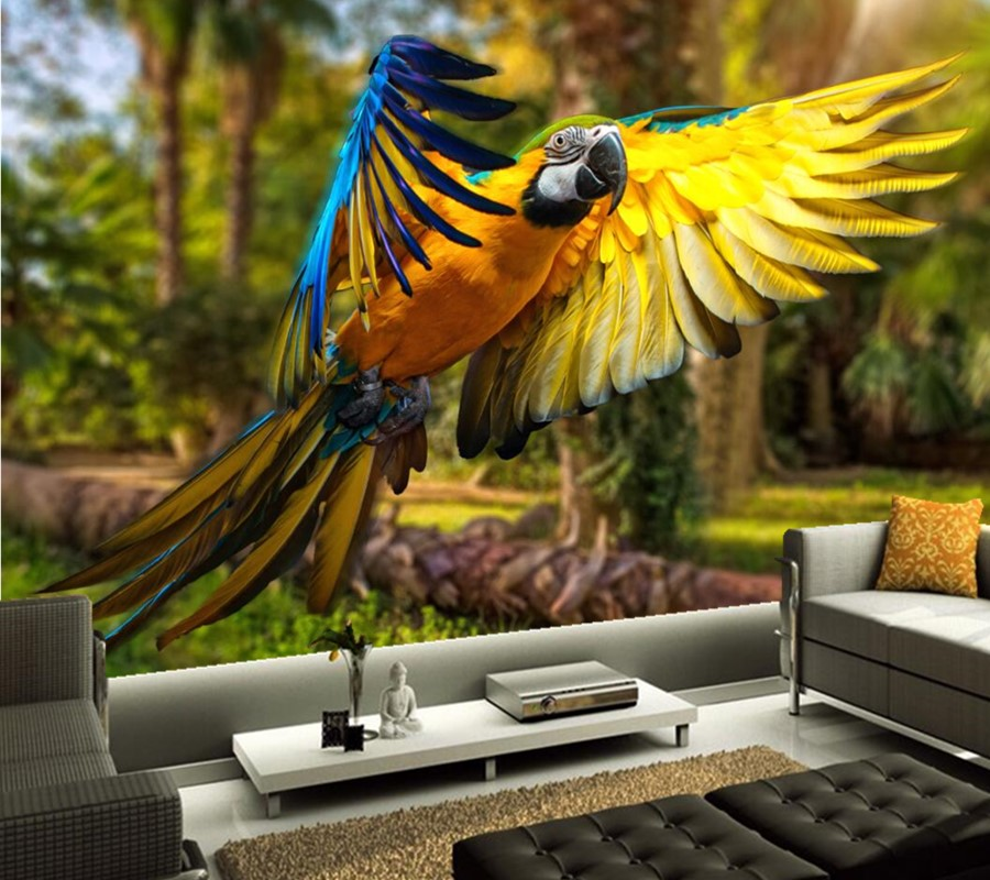 Custom Birds Parrots Feathers Animals wallpaper papel de parede,living room sofa TV wall bedroom photo 3d wallpaper 3d mural wifi ipc 720p 1280 720p household camera onvif with allbrand camera free shipping