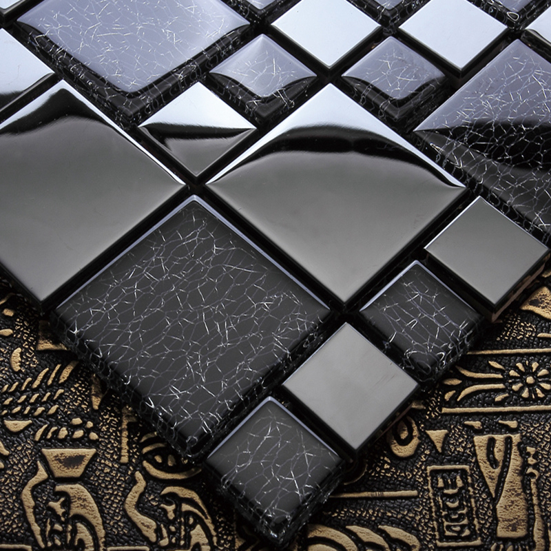 european black metal mix crystal glass mosaic tiles living room wall decoration kitchen backsplash wall tile fireplace frame