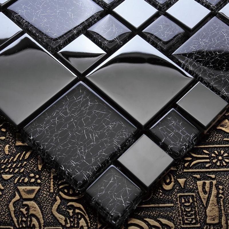 european metal black silver crystal