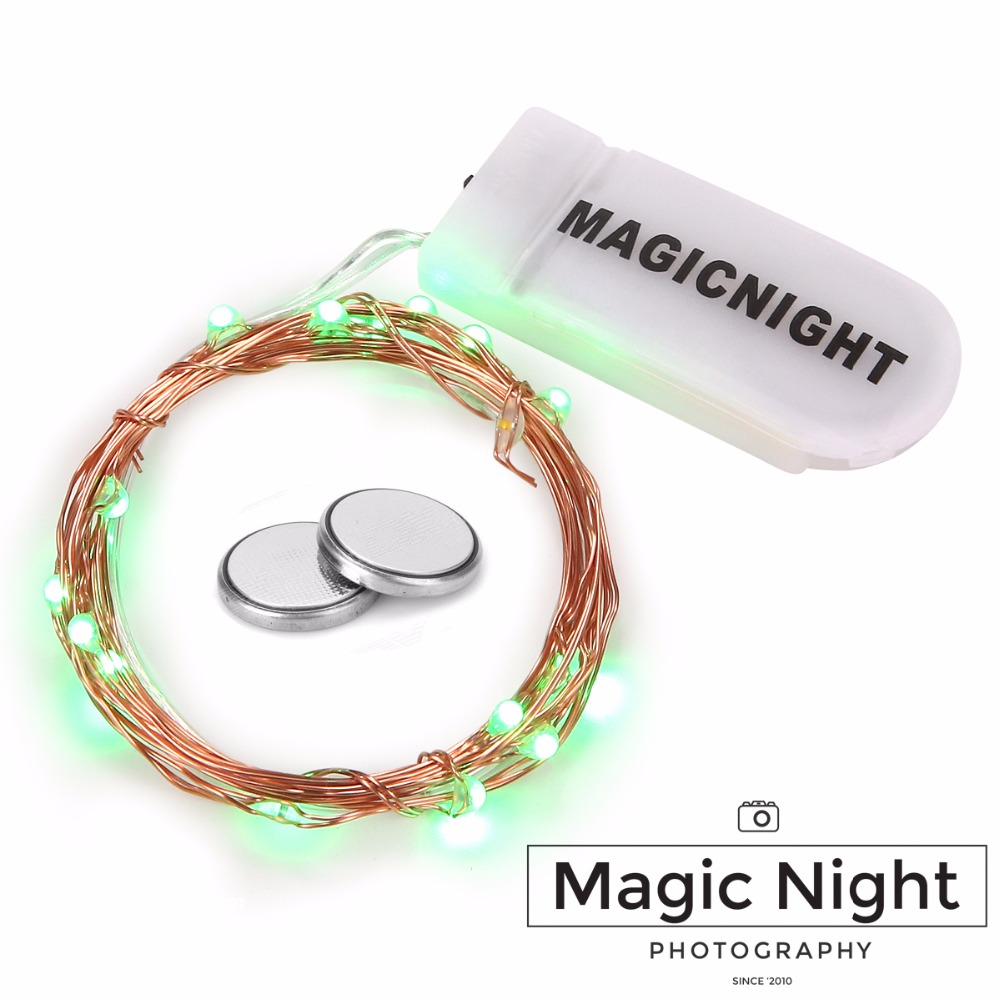 Magicnight 20 Green Micro LED String Lights On 7 Feet Extra Thin Copper Wire For DIY Wedding Centerpiece Included Battery