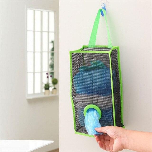 Hanging Garbage Bag Storage Bags PVC Mesh Space Saver For Kitchen Bathroom Garbage  Bags Holder Shoes