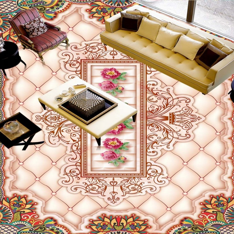 ФОТО Free Shipping high quality flooring wallpaper Marble soft floral pattern 3D floor painting study bookstore floor mural