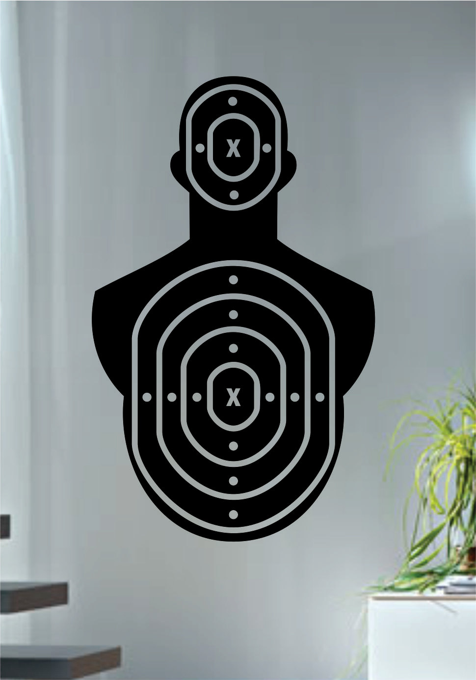 Shooting Range Wall Decal Special Design Target Version Cool Wall Stickers  Gun Art Mural Removable Waterproof Home Decor