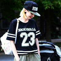 SheIn Tops For Women Clothing Online Ladies Fashion Shirts Black Short Sleeve Crew Neck 23 Letters