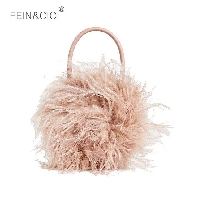 802c7e46b6 Round fur bag women Luxury Designer ostrich feathers Evening party Bag  handbag 2018 fall winter new