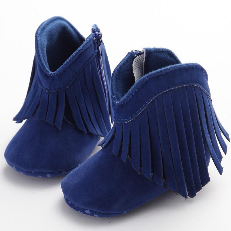 Newborn Baby Boy & Girl Kids Prewalker Solid Fringe Shoes Infant Toddler Soft Soled Anti-slip Boots  3