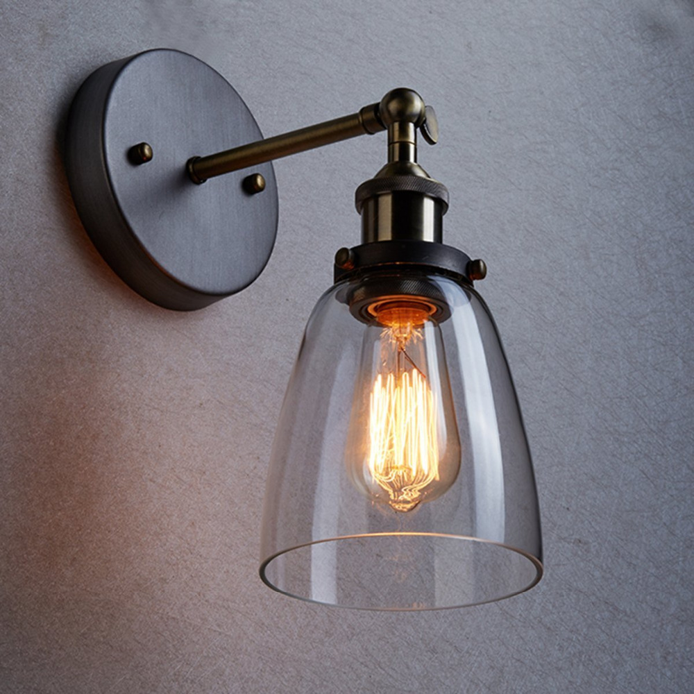 Loft vintage industrial edison wall lamps clear glass wall for Appliques murales salle de bain design