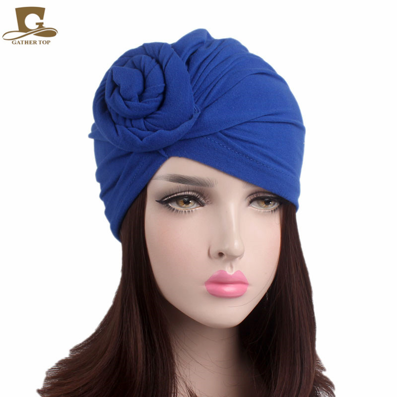 New women knotted turban hat chemo cap headbands chemo skullies satin cap bandana wrap cancer hat cap chemo slip on bonnet with ribbon 8 colors 10pcs lot free ship
