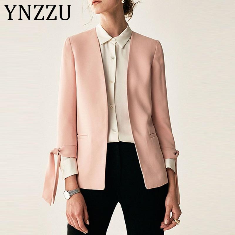 YNZZU Elegant 2019 Autumn Blazer Women Pink Lace Up Bow Office Lady Suit Coat Women Blazers And Jackets Blazer Feminino A1035