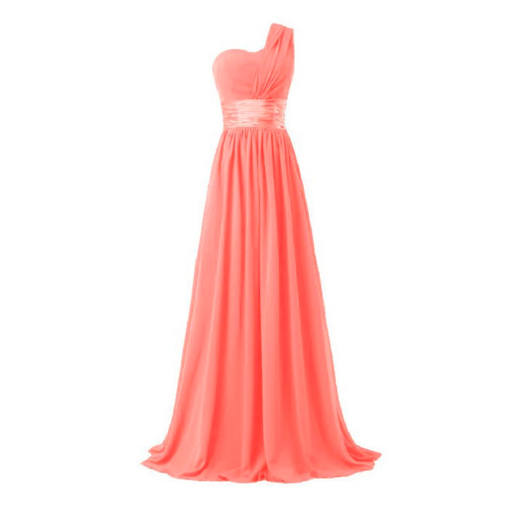 2017 long bridesmaid dress one shoulder a line chiffon for women elegant fashion style purple blue mint green pink red yellow 6