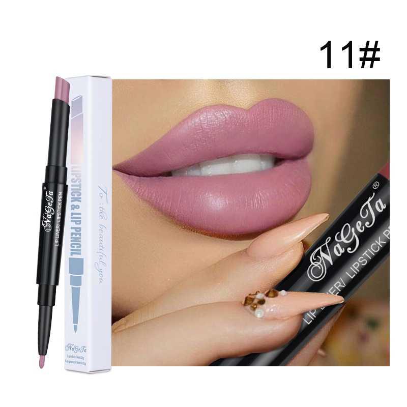 כפול-שפתון עיפרון עמיד למים לאורך זמן Velet מט שפתונים עירום כהה אדום Lipliner עט יופי Dropshipping