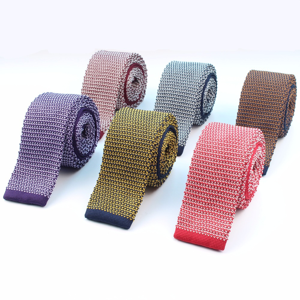 Fashion Men's Colourful Knit Tie Star Point Knitted Ties Dot Sample Necktie Narrow Slim Skinny Woven Cravate Narrow Neckties