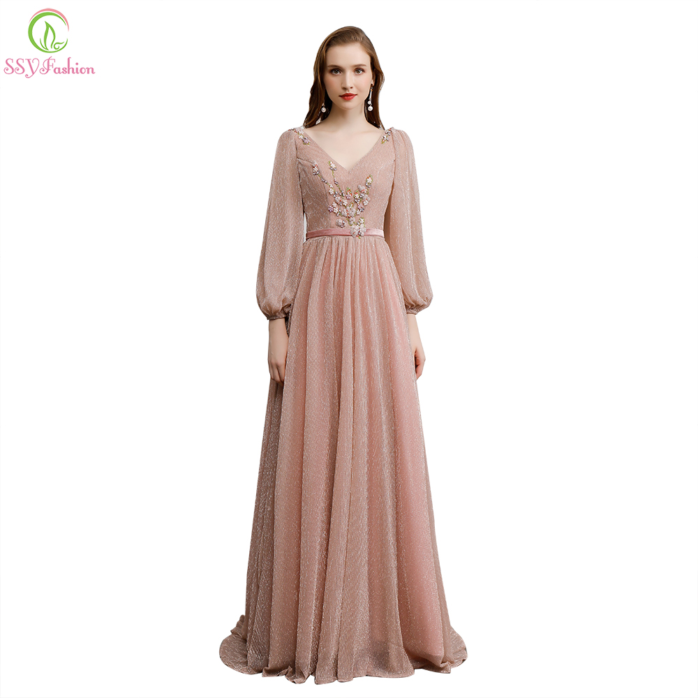 Clearance Long Evening Dress Long Sleeved V neck Floor length Appliques Beading Prom Formal Party Gown