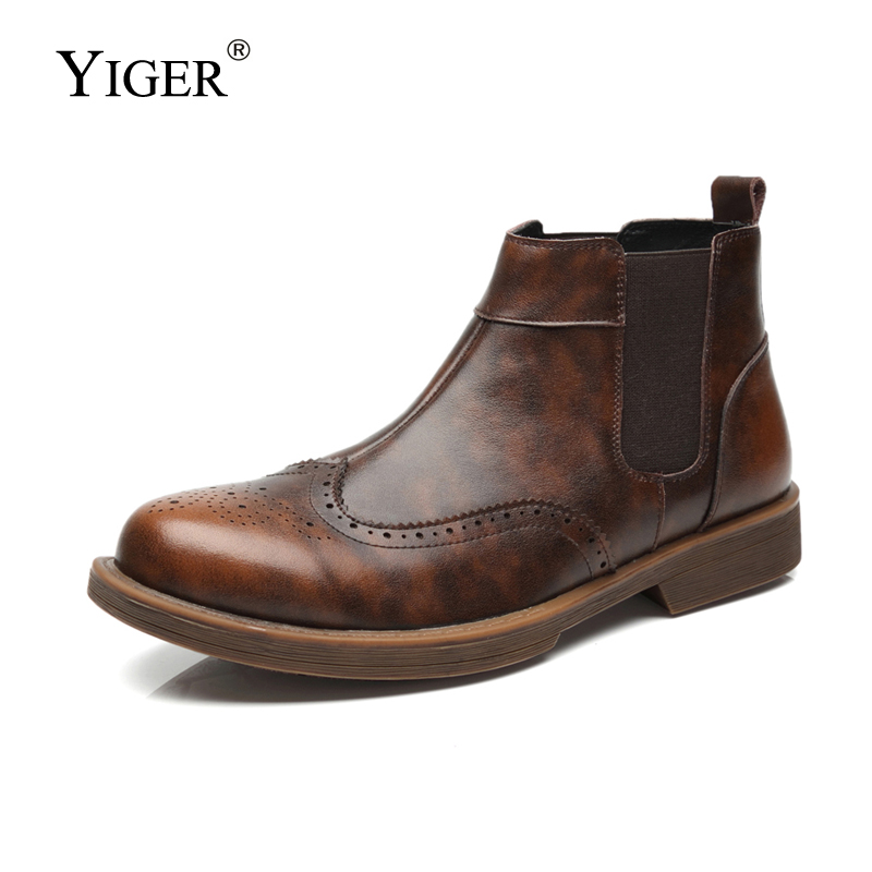 6d83886e57a880 YIGER NEW 2018 Man Ankle Boots Men s Chelsea Boots Genuine Leather Slip-on  Man Casual shoes Winter Autumn Man Martins boots 151