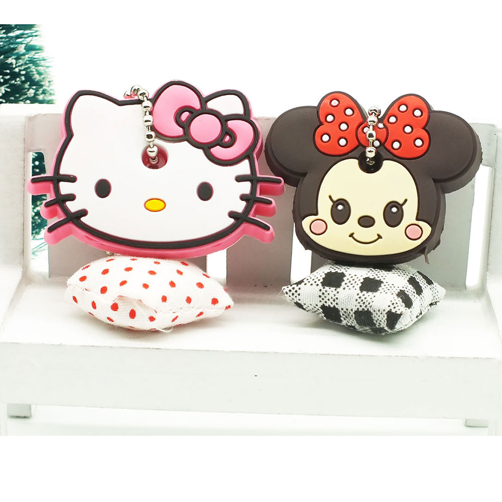 2PCS Cute Anime Cartoon Keychain Silicone Key Cover Hello Kitty Garfield Minnie KeyRing Women Bag Car