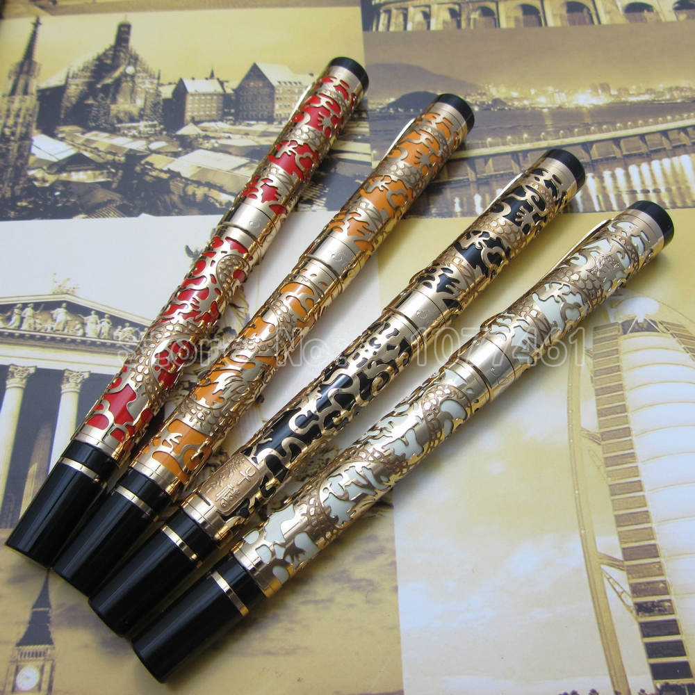 4Pcs Jinhao Black Red White Orange Embossed golden dragon Pen High Quality Fountain Pen  J22F154Pcs Jinhao Black Red White Orange Embossed golden dragon Pen High Quality Fountain Pen  J22F15