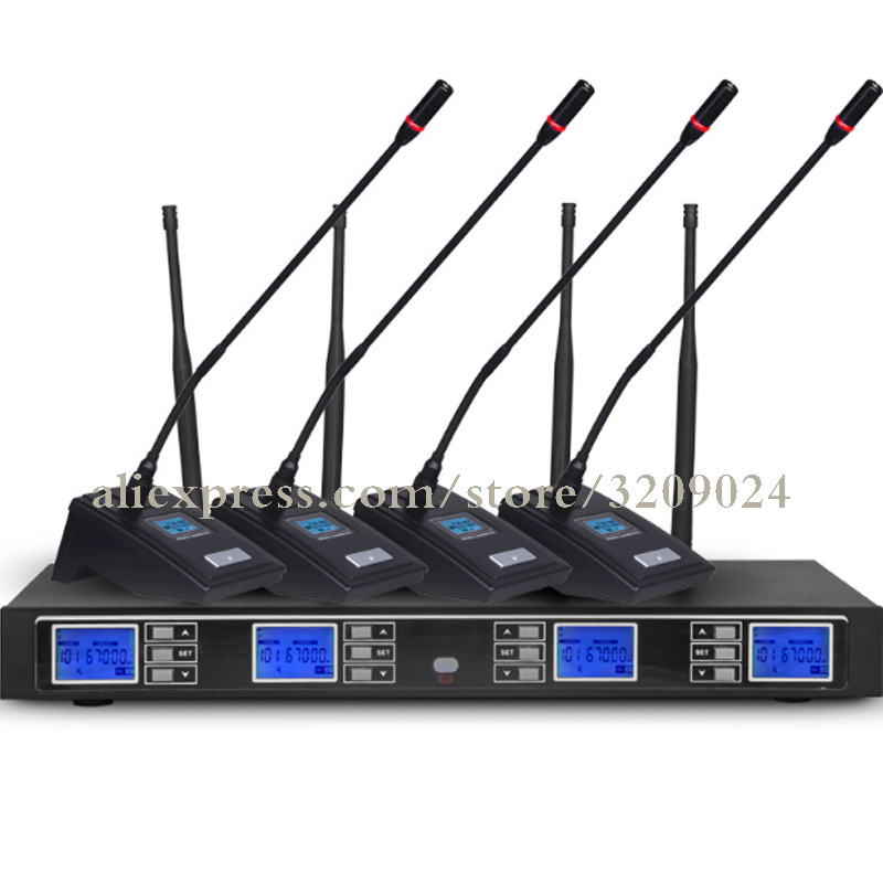 4 Channel Mic Receiver UHF Series Radio Conference Gooseneck Transmitter Mic Syetem Wireless Microphone