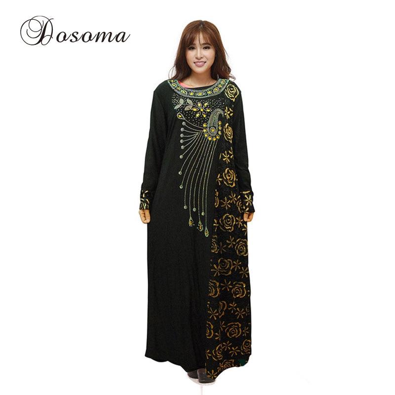 Islamic Embroidery Diamond Gown Dress Muslim Flower Women Abaya ...