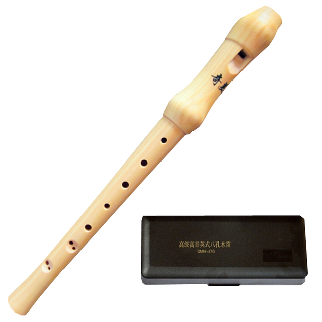 Professional 8-Hole Baroque Soprano Wooden Recorder C Key Clarinet High-pitched Voice Vertical Flute with Black Resin Case