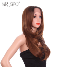 Hair Expo City 24inch Synthetic Lace Front Wig Straight Hand Tied Frontal Lace Wig 2 Colors With Inner Curl Wig for Women