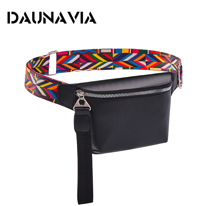 Waist Bag For Women PU Leather Fanny Pack Fashion Bohemian Belt Bag Women Phone Pouch Casual Black Chest Bags Girls Shoulder