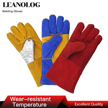 Leather Welding Gloves Anti-Cut Temperature Resistant Fire-Proof Cowhide Work Safety Gloves Hands Protection anti cutting breathable safety gloves welding coat mechanic leather work gloves heat resistant guantes trabajo