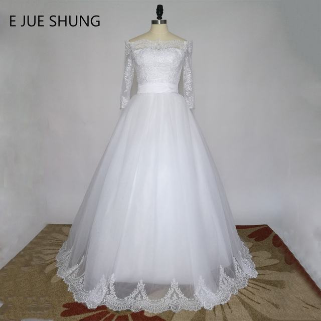 E JUE SHUNG White Vintage Lace Wedding Dresses 2017 Ball Gown Off ...
