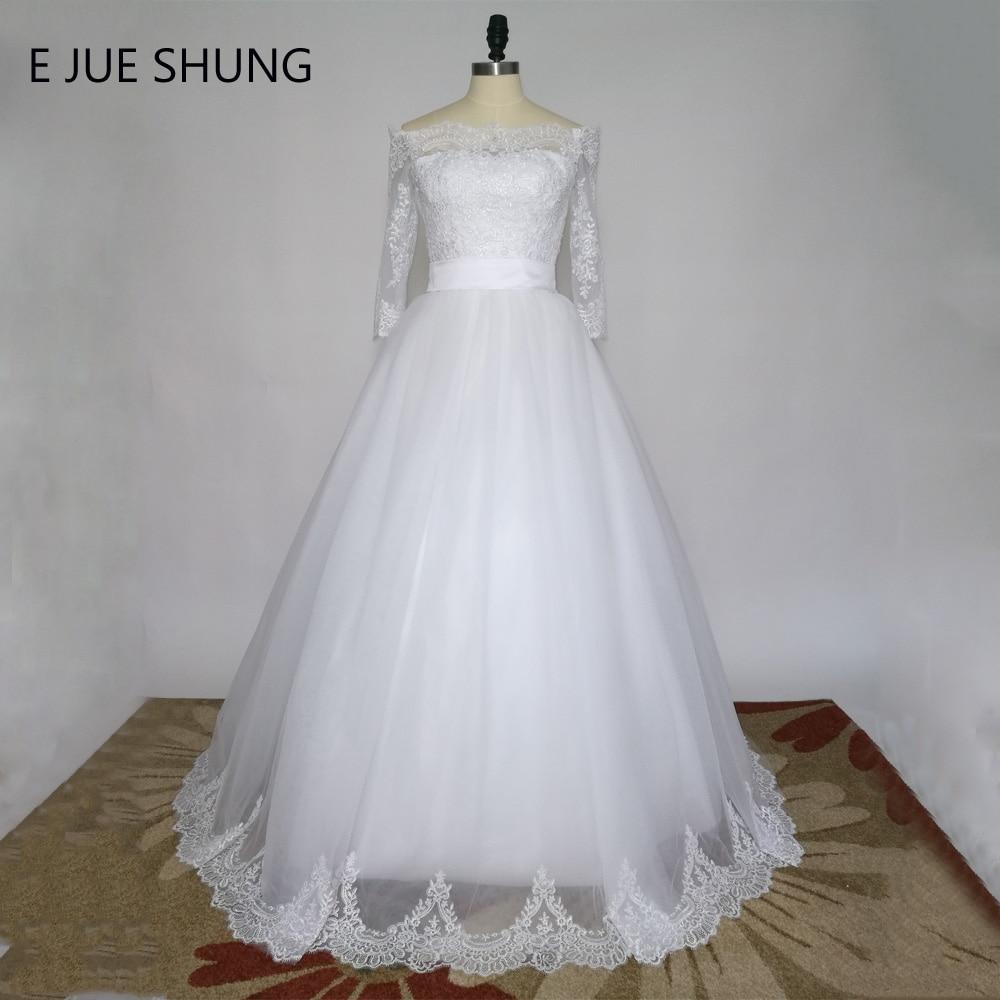E JUE SHUNG Vit Vintage Snörning Bröllopsklänningar 2019 Bollklapp Off Shoulder Half Sleeves Bröllopsklänningar gelinlik